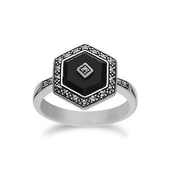 Gemondo Sterling Silber schwarzem Onyx und Markasit-Hexagon-Ring