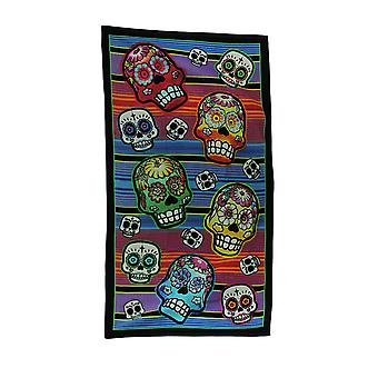 Colorful Calaveras Striped Sugar Skull Beach Towel