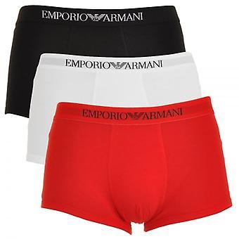 Emporio Armani Pure Cotton 3-Pack Trunk, White/Red/Black, X-Large