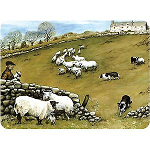 Premium Glass Worktop Protector Sheepdog and Sheep Board Medium 3040SHEE
