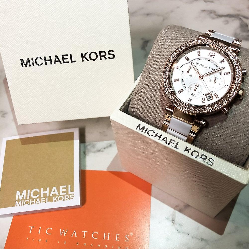 Michael Kors Watches Mk5774 Parker Ladies Rose Gold & White Chronograph Watch