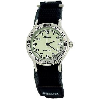 Ravel Nite-Glo Quartz Luminous Dial Grey & Black Easy Fasten Boys Watch R1708.13