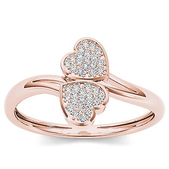 IGI Certified 10k Rose Gold 0.04 Ct Diamond Heart Fashion Engagement Ring