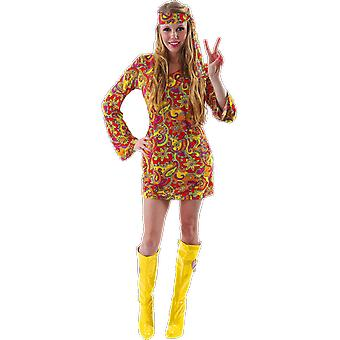 Orion Costumes Womens Orange 60s Hippie Paisley Festival Fancy Dress Costume