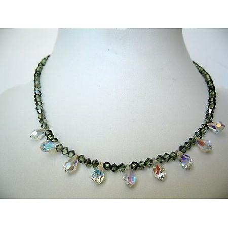 Bridal Bridesmaid Swarovski Chrysolite Crystals AB Briolettes Necklace