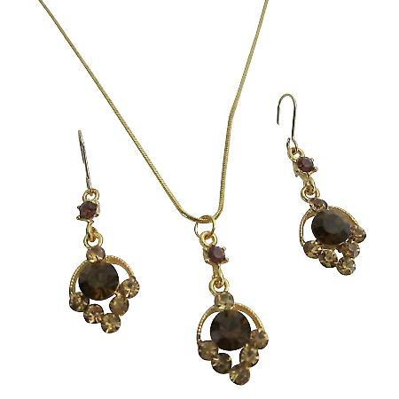 Bridal Smoked Topaz Crystals Pendant Earrings Golden Metal Chain