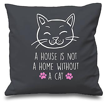 :Grey Cushion Cover A House Is Not A Home Without A Cat 16