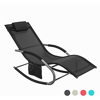 SoBuy Rocking Outdoor Chair with Footrest,Black,OGS28-SCH