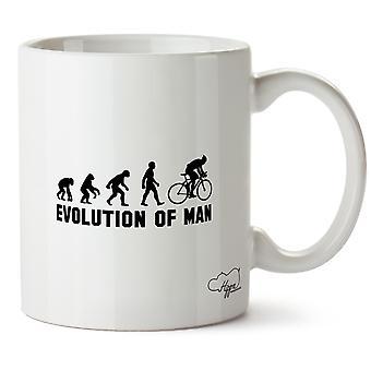 Hippowarehouse evolução do ciclista homem impresso caneca copo cerâmico 10oz