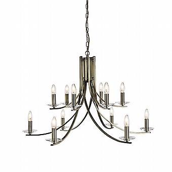 Ascona 12 lumière torsadées pendentif avec verre clair appliques de plafond