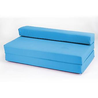 Cotton Twill Fold Out Double Z Bed Sofa - Turquoise