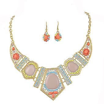 Ladies farverige krystal Aztec stil juvel erklæring & amp; ørering sæt