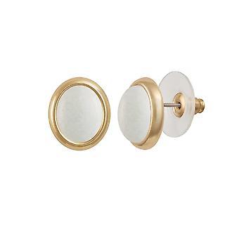 Éternelle Collection menuet White Mountain Jade Gold Tone Stud boucles d'oreilles