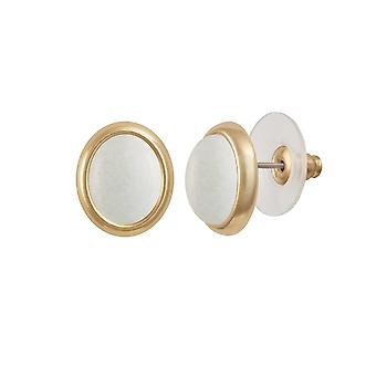 Eternal Collection Minuet White Mountain Jade Gold Tone Stud Pierced Earrings