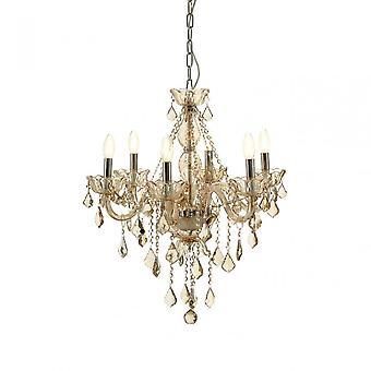 Premier Home Murano 8 Bulb Chrome/Cognac Glass Chandelier, Chrome, Glass, Iron, K9 Crystal, Silver