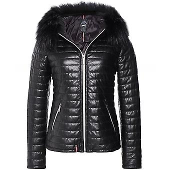 Oakwood Fury Faux Fur Trim Quilted Leather Jacket