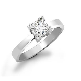 Jewelco London Ladies Solid 18ct White Gold L-Shape 4 Claw Set Princess G SI1 1ct Diamond Solitaire Engagement Ring
