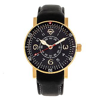 Shield Gilliam Leather-Band Men's Diver Watch - Gold/Black