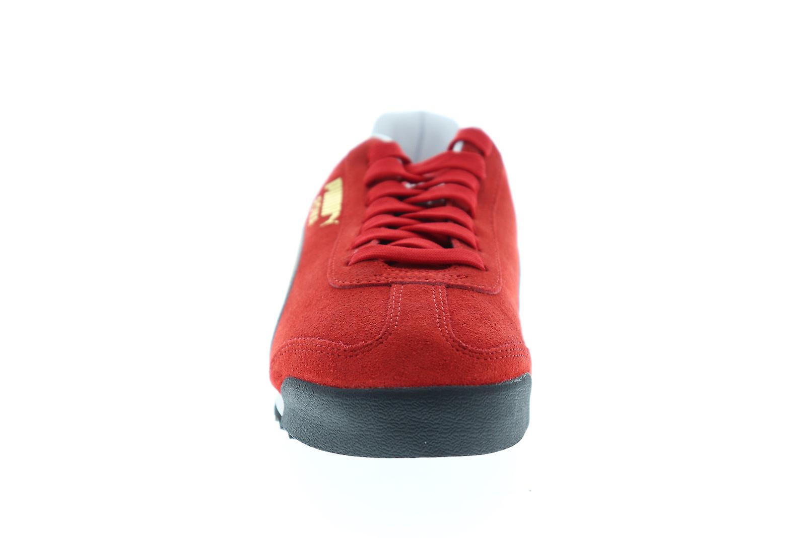 low priced 703b5 9956b Puma Roma Suede Mens Red Suede Low Top Lace Up Sneakers Shoes