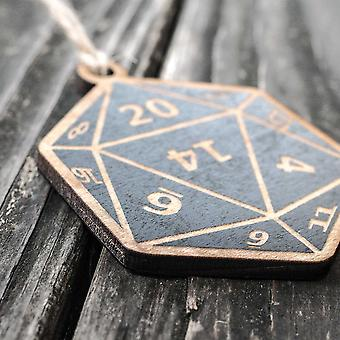 Ornament - d20 - black painted raw wood 3x3in