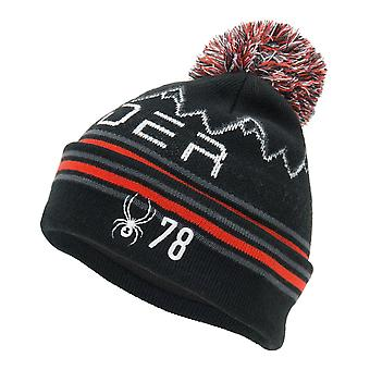 Spyder ICEBOX Kinder Strick Bommel Winter Ski Mütze schwarz