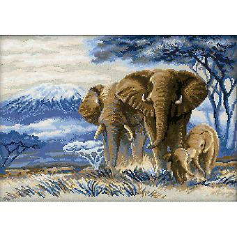 Elephants In The Savannah Counted Cross Stitch Kit 15.75
