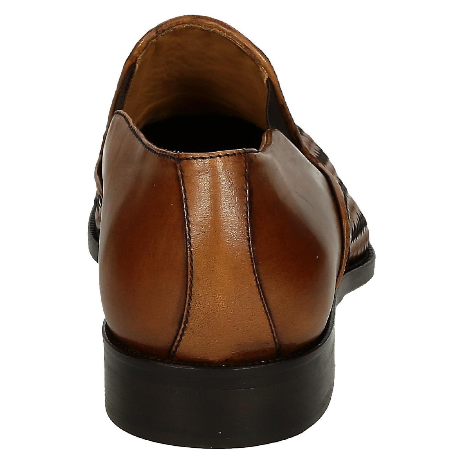 Handmade tan woven leather men's men's men's gussets loafers shoes edb251