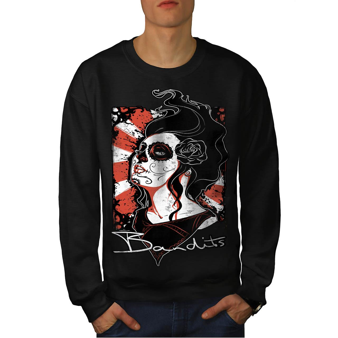 Bandits Cabaret Love Goth Queen Men Black Sweatshirt | Wellcoda