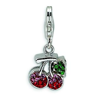 Sterling Silver Polished Crystal Cherries With Lobster Clasp Charm - Measures 23x11mm