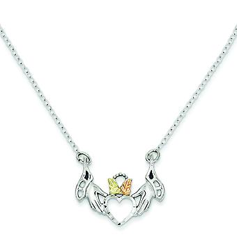 Sterling Silver and 12k Heart In Hands Necklace - 18 Inch