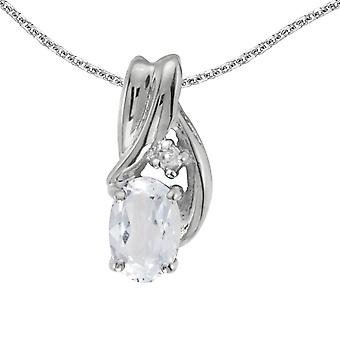 14k White Gold Oval White Topaz And Diamond Pendant with 18