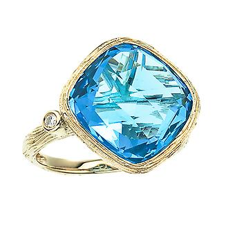 14k Yellow Gold Cushion Cut Blue Topaz and Diamond Ring