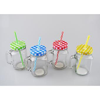 Glass Mason Jar Drink Tumbler Cocktails Beer Lid and Straw 4 Colours Outdoor