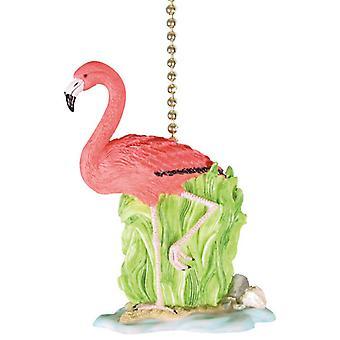 热带粉红色火烈鸟提基装饰吊扇或轻拉