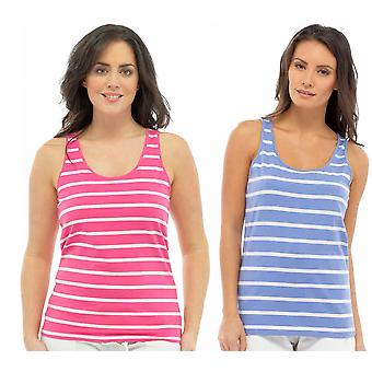 Pack Of Two Ladies Tom Franks Beach Holiday Gym Striped Cotton Fashion Vest Tops