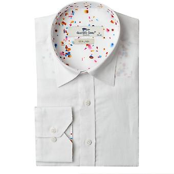 Claudio Lugli Linen Abstract Speckle Trim Mens Shirt
