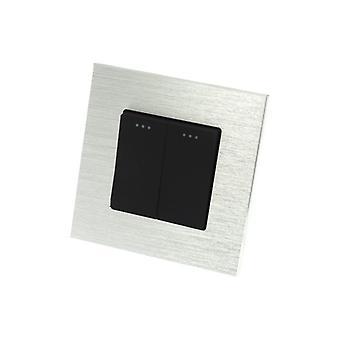 I LumoS Luxury Silver Brushed Aluminium Frame 2 Gang 1 Way Rocker Wall Light Switches
