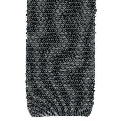 Michelsons of London Silk Knitted Tie - Charcoal