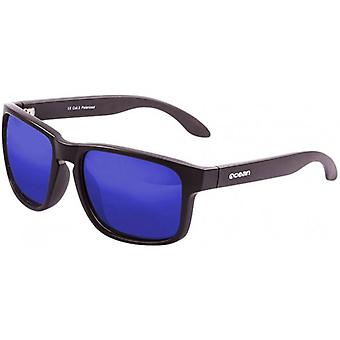 Ocean Blue Moon Sunglasses - Matte Brown/Blue Revo