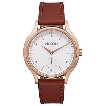 Nixon The Sala Leather Watch - Rose Gold/White/Brown
