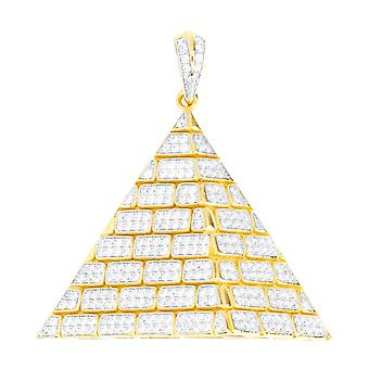 Premium Bling - 925 sterling silver pyramid pendant gold
