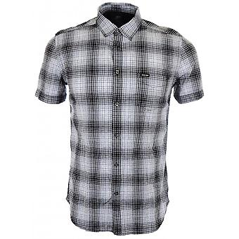 Diesel S Edith Checked Short White Shirt