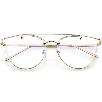 Modern Crossbar Horn Rimmed Rimless Eyeglasses Clear Round Flat Lens 58mm