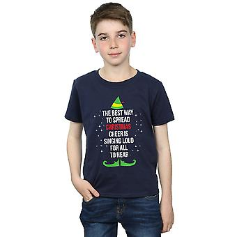 Elf Boys Christmas Cheer Text T-Shirt