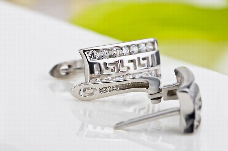 Affici Sterling Silver Huggie Earrings 18ct White Gold Plated with Diamond CZ Gems