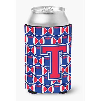 Letter T Football Harvard Crimson and Yale Blue Can or Bottle Hugger