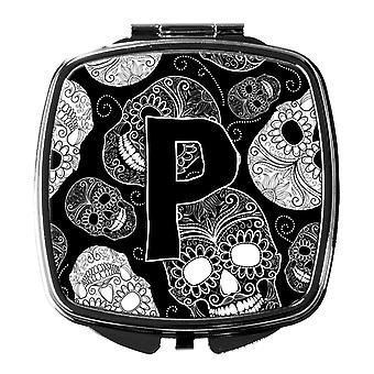 Letter P Day of the Dead Skulls Black Compact Mirror