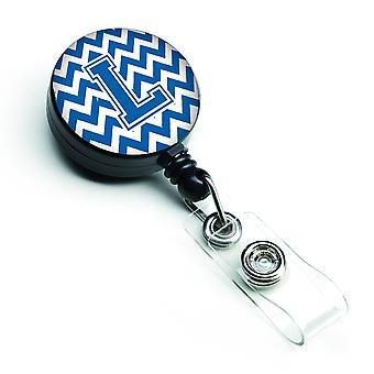 Letra L Chevron azul y blanco carrete Retractable de la insignia
