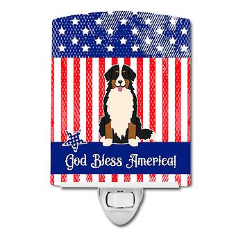 Patriotic USA Bernese Mountain Dog Ceramic Night Light