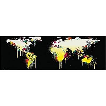 Monde carte Graffiti Style 12 x 36 affiche Poster Print